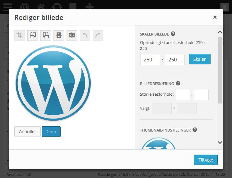 Billedredigering i wordPress