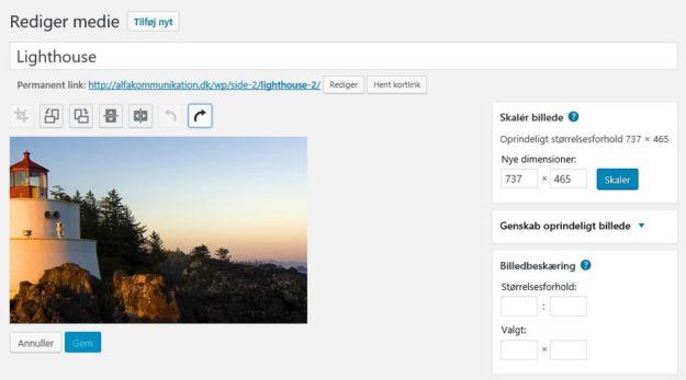 Tilpas billede i WordPress
